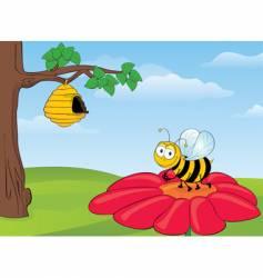 bee on flower vector image