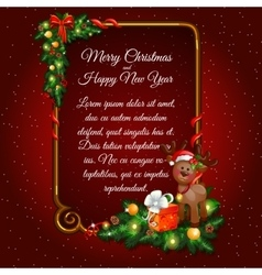 Red christmas card with golden frame for your text vector