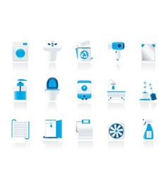 Bathroom and toilet objects and icons vector