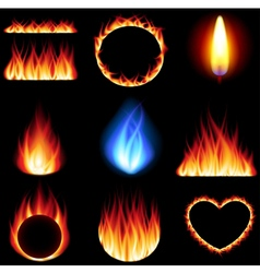 Fire forms icons set vector