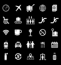 airport icons on black background vector image
