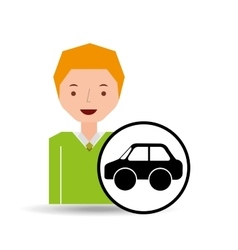 boy car sedan cartoon icon design vector image
