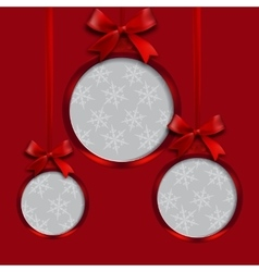 Card red balls with bows and place for an vector