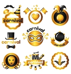 Carnival badges with gold icons and objects vector image