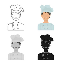 Chef icon in cartoon style isolated on white vector