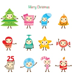 Christmas Ornaments Character Design Set vector image