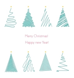Christmas trees set hand drawing line graphic vector