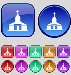 Church Icon sign A set of twelve vintage buttons vector image
