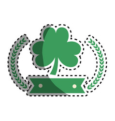 Clover plant with ribbon and branches decoration vector