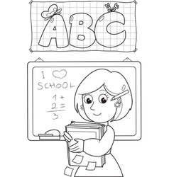 Coloring image of school teacher vector image vector image