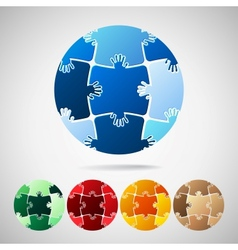 Earth Planet from puzzle pieces vector image vector image