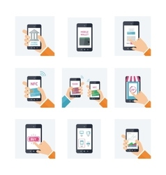Flat icons set with mobile technology online vector image vector image