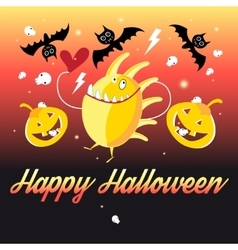 Graphics Halloween monsters and pumpkins vector image vector image