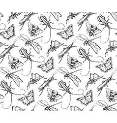 Insects sketch decorativeseamless pattern with vector image