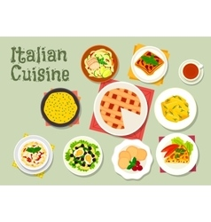 Italian cuisine pasta dishes with desserts icon vector image