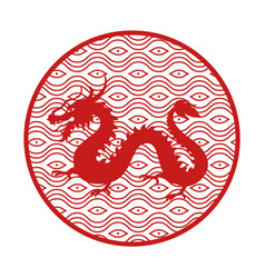 Japanese mythical dragon in circle with pattern vector