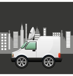 mini truck citi background design vector image vector image