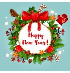 New year poster with wreath and decorations vector
