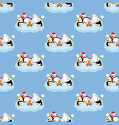penguins and rabbit pattern vector image vector image