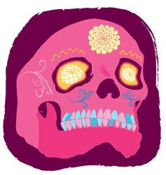 Pink skull vector