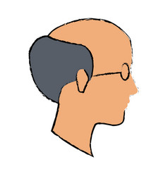 Profile old man bald with glasses vector