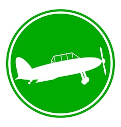 Retro military airplane button vector