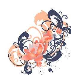 roses leaves border corner Stylized flowers vector image