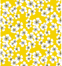 sakura blossom seamless pattern on sunny yellow vector image vector image
