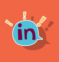 Sticker linkedin color icon glossy app icon logo vector
