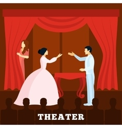 Theatre Stage Performance With Audience poster vector image vector image