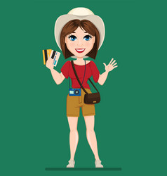 tourist woman traveler holding credit cards and vector image