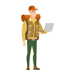 traveler using laptop vector image vector image