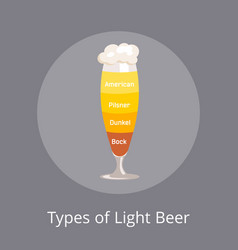 types of light beer american and dunkel pilsner vector image