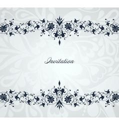 Vintage floral blue frame background vector image vector image