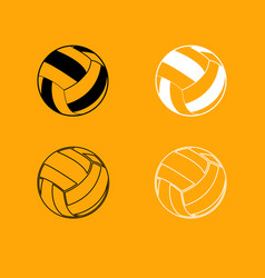 volleyball ball black and white set icon vector image vector image