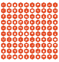 100 live nature icons hexagon orange vector