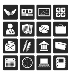 Black simple business and office icons vector