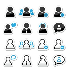 User man icon labels set for website vector