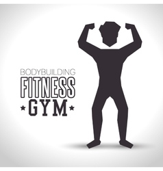 silhouette man bodybuilding fitness gym icon vector image