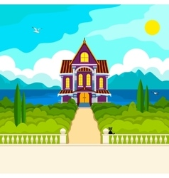 Southern landscape and house vector