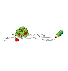 Green pencil drawing apple tree vector image