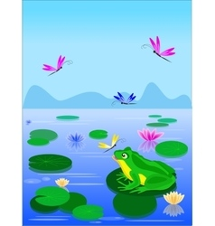 Cartoon green frog sitting on a lily leaf vector