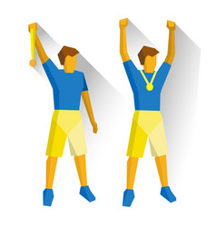 two champions showing medals game winners vector image