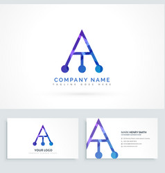 abstract logo letter a with business card vector image