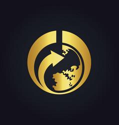 World earth arrow gold logo vector