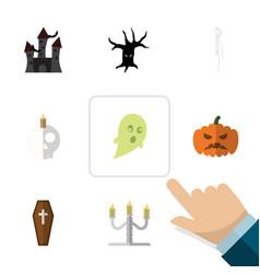 Flat icon festival set of cranium skeleton vector