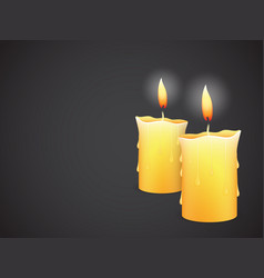Two burning candles on black background vector