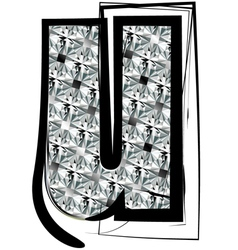 Diamond font letter u vector