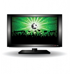 Football crowd on lcd television vector