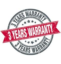 3 years warranty red round grunge vintage ribbon vector